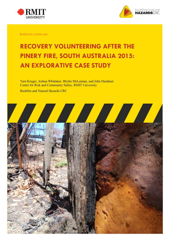 RESEARCH REPORT: Recovery volunteering after Pinery fire, South Australia 2015: an explorative case…