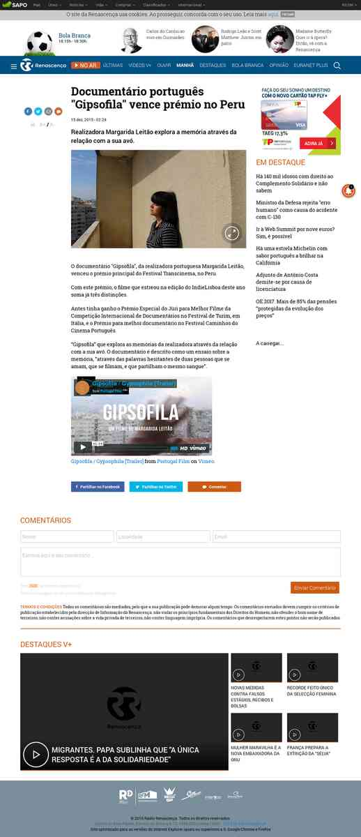 """Documentário português """"Gipsofila"""" vence prémio no Peru   Rádio Renascença"""