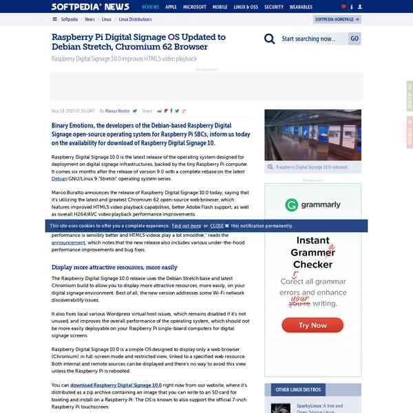 Softpedia // Raspberry Pi Digital Signage OS Updated to Debian