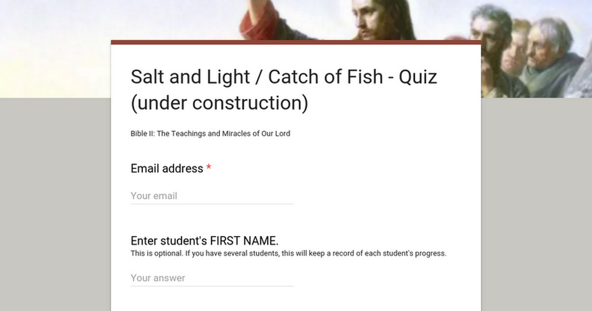 Salt and Light / Catch of Fish - Quiz