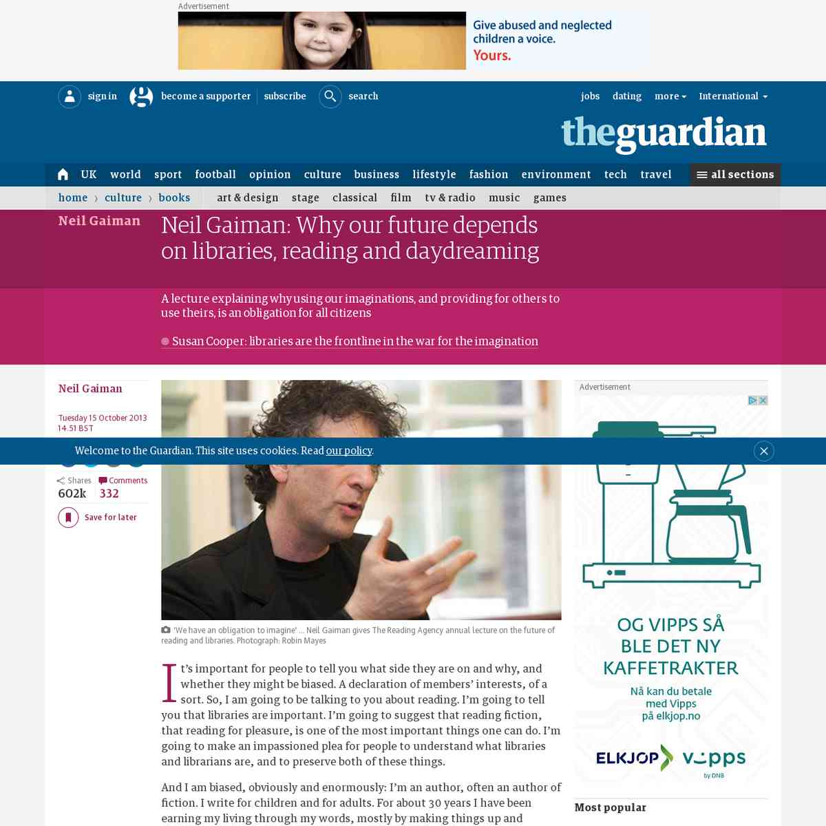 Neil Gaiman: Why our future depends on libraries, reading and daydreaming | Books | theguardian.com