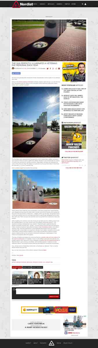 nerdist.com/2014/11/the-sun-perfectly-illuminates-a-veterans-day-memorial-each-year/
