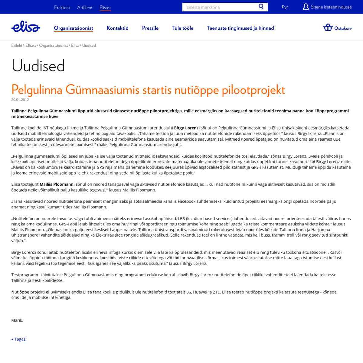 Elisa M-õppe projekt Pelgulinnas