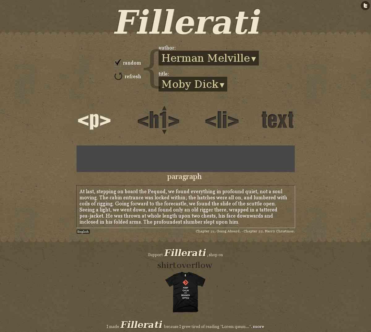 Fillerati (Choose an author)