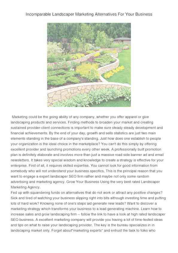 Incomparable Landscaper Marketing Alternatives For Your Business