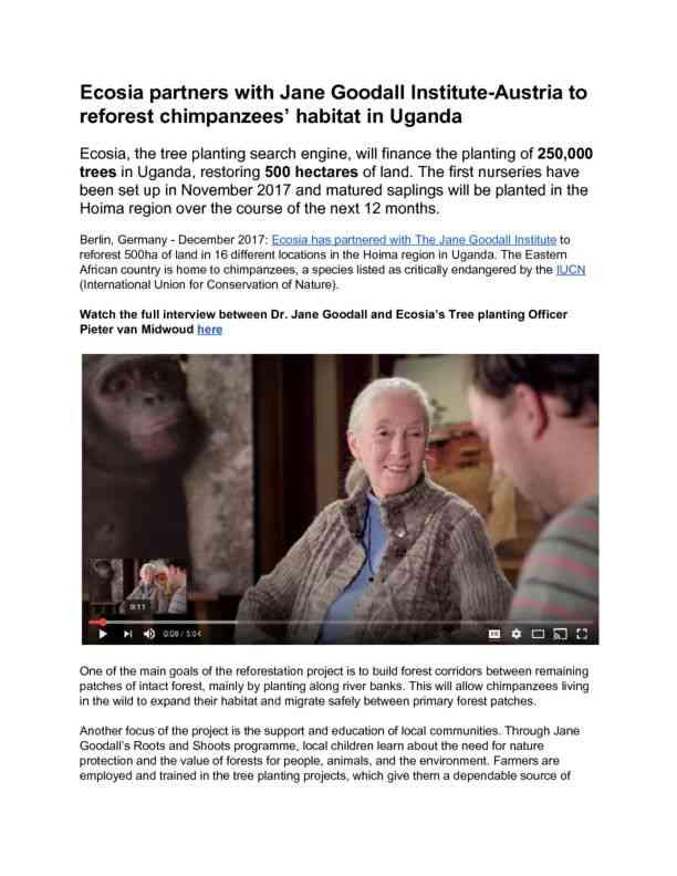 Dec 2017 Ecosia supports Jane Goodall Institute in Uganda