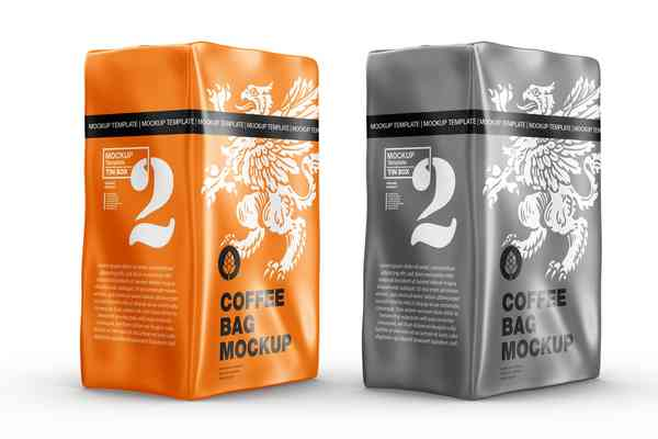 $ Metallic Paper Coffee Bag Mockup