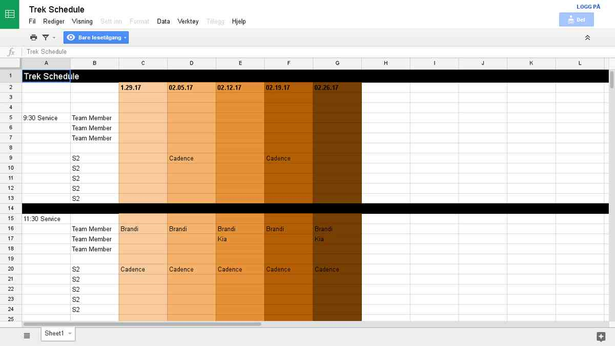 Trek Schedule