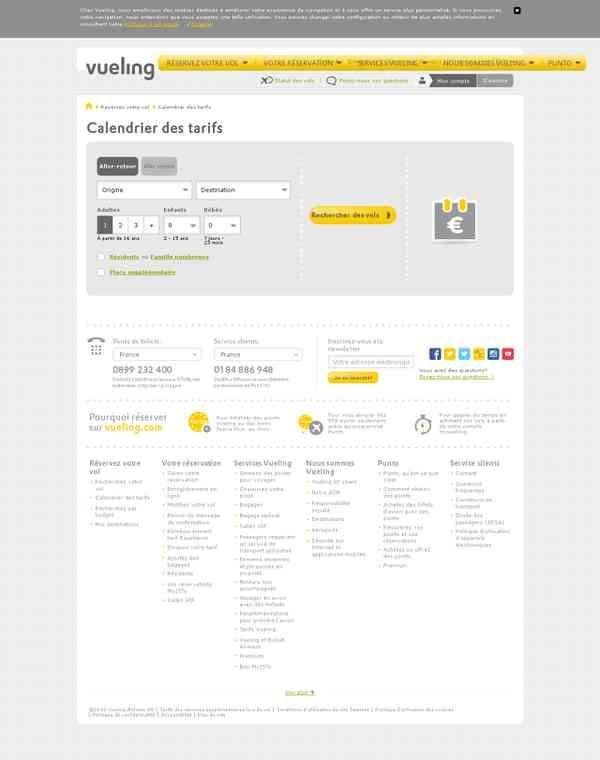 Calendrier des vols par prix | vueling.com