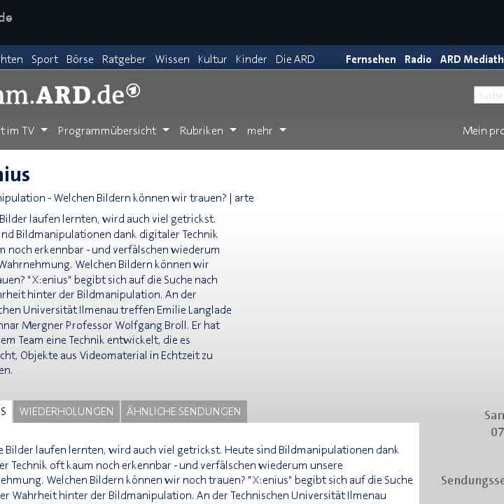 X:enius - arte | programm.ARD.de - Digitalisierung