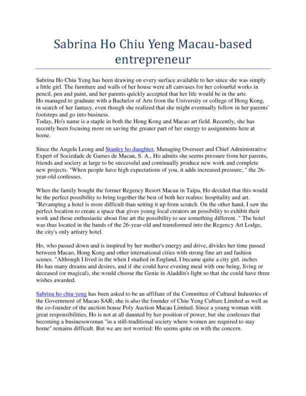 Sabrina Ho Chiu Yeng Macau-Based Entrepreneur
