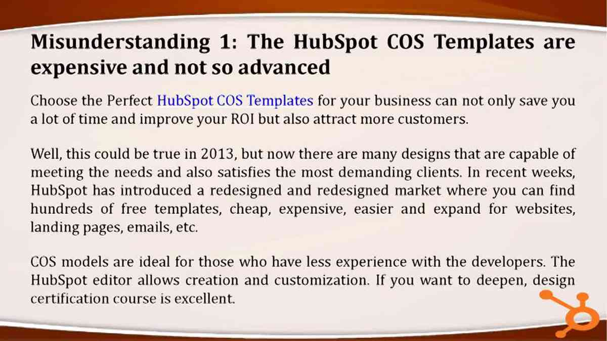 Misunderstanding about HubSpot COS Development.