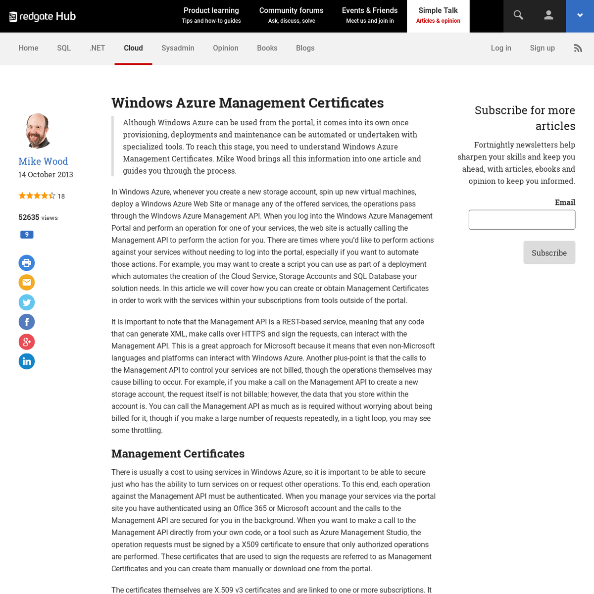 Windows Azure Management Certificates - Simple Talk