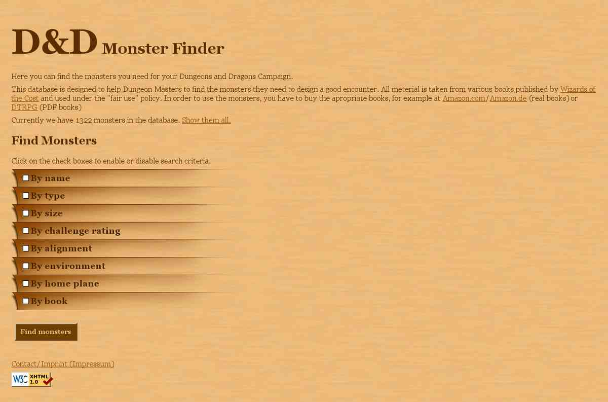 reference - d20 monster finder