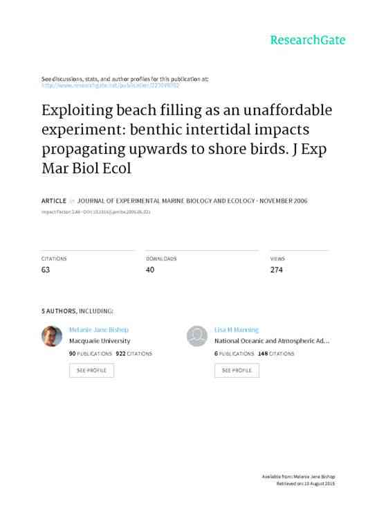 Exploiting Beach Filling as an Unaffordable Experiment: Benthic intertidal impacts propagating upwa…