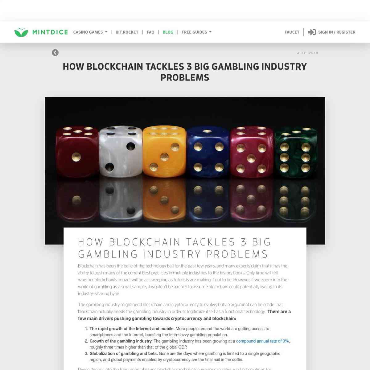 How Blockchain Tackles 3 Big Gambling Industry Problems