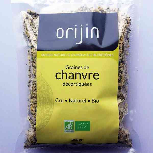 Graines de chanvre crues biologiques Orijin - 250g Regenerescence