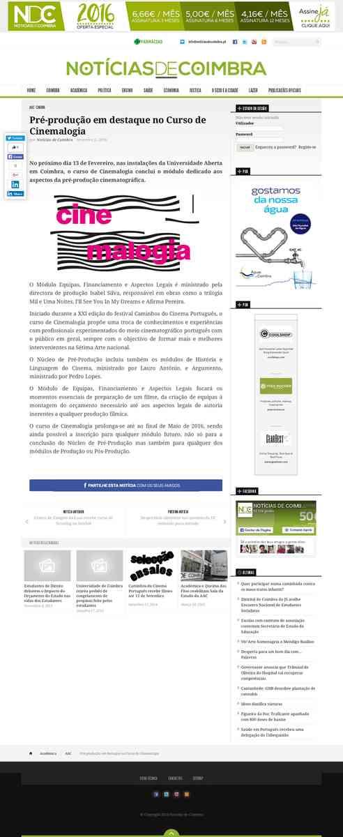 Pré-produção em destaque no Curso de Cinemalogia   Notícias de Coimbra