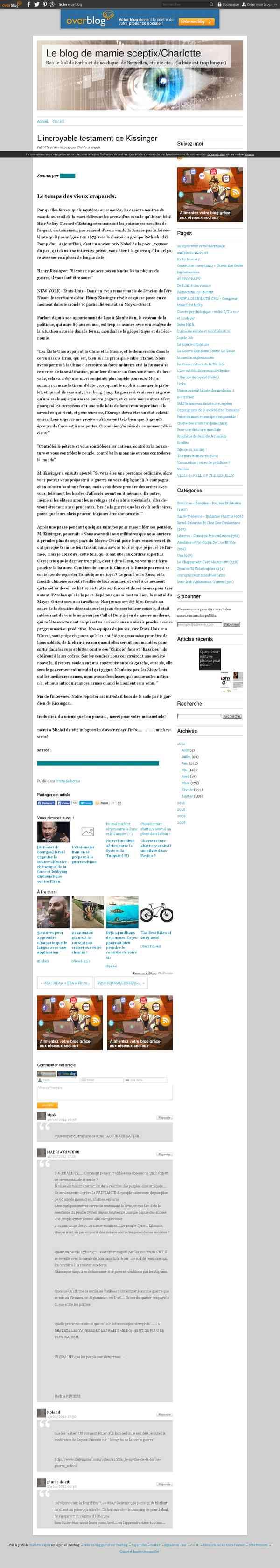 L'incroyable testament de Kissinger - Le blog de mamie sceptix/Charlotte