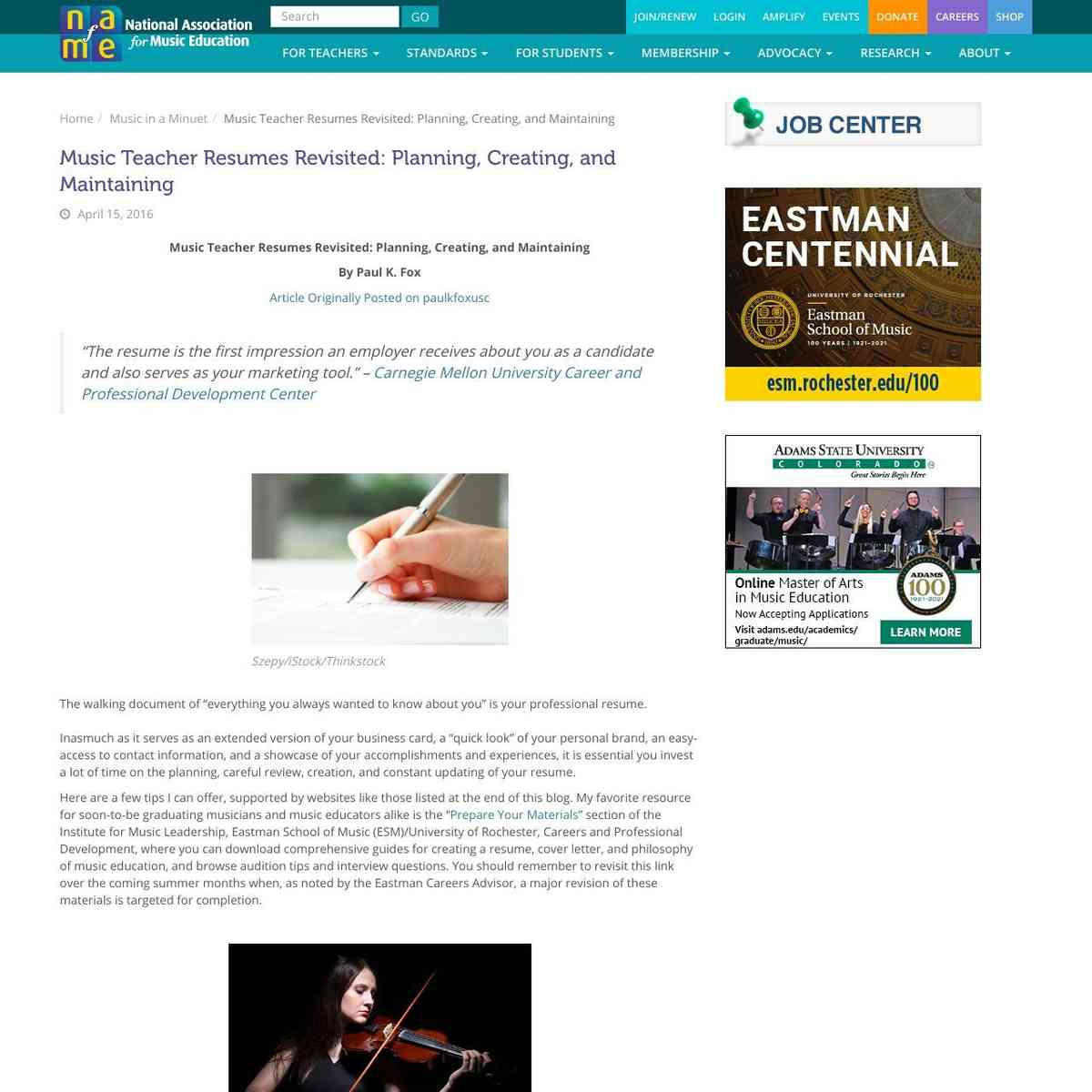 NAFME: Music Teacher Resumes Revisited: Planning, Creating, and Maintaining