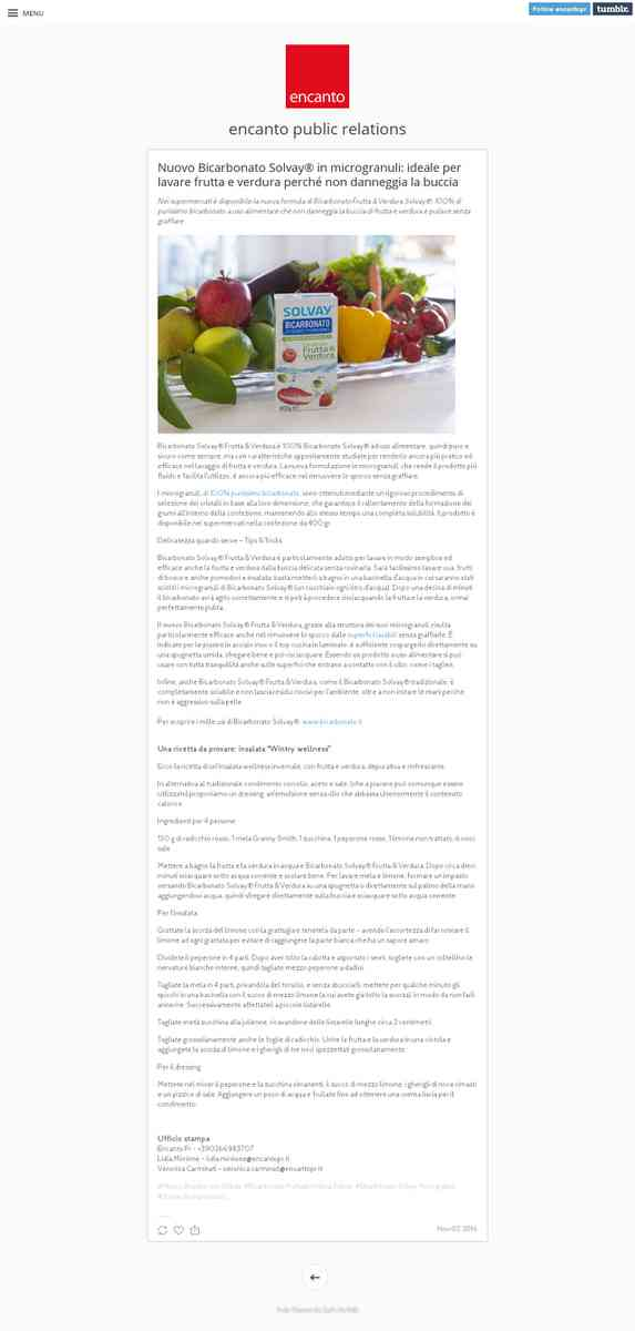 Bicarbonato Solvay® Microgranuli pulisce frutta e verdura senza graffiare