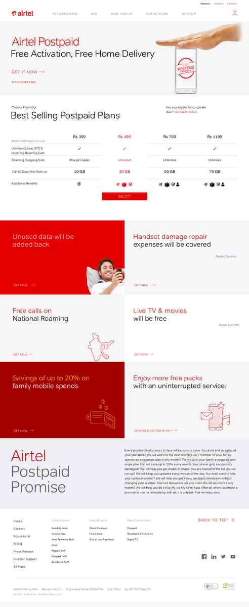 Airtel Unlimited Postpaid Plans Starts at Rs 399