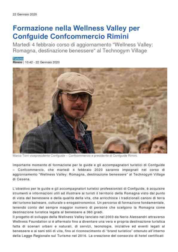Formazione nella Wellness Valley per Confguide Confcommercio Rimini