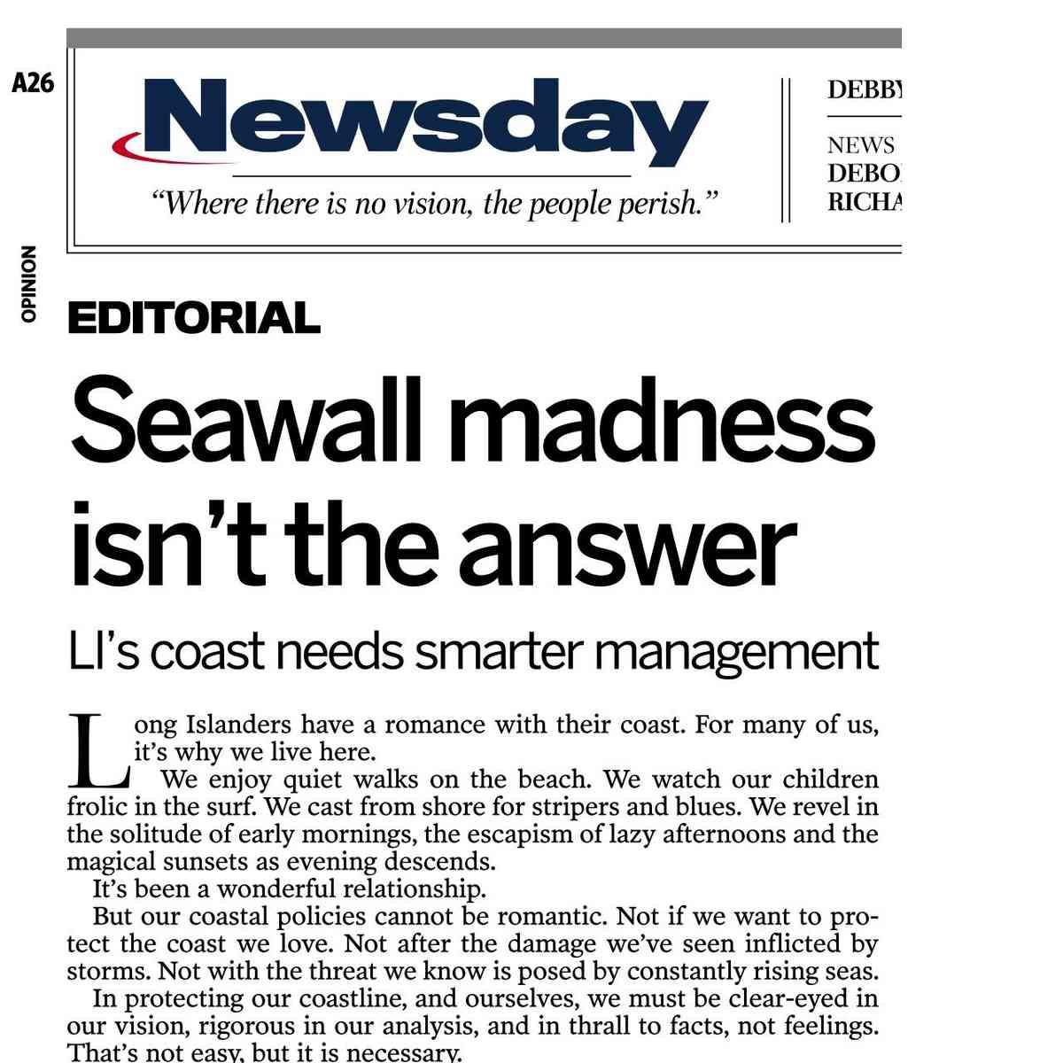 Seawall Madness Isn't the Answer