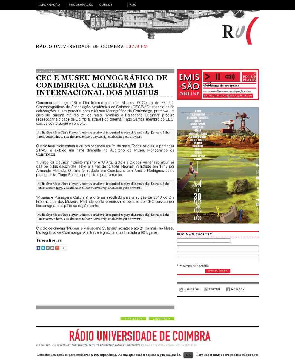 CEC e Museu Monográfico de Conimbriga celebram Dia Internacional dos Museus | RUC