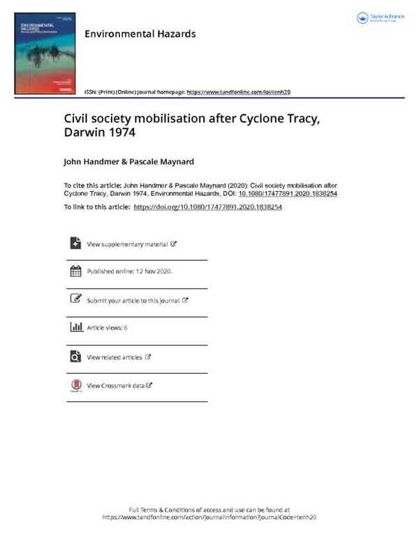 RESEARCH ARTICLE: Civil society mobilisation after Cyclone Tracy, Darwin 1974