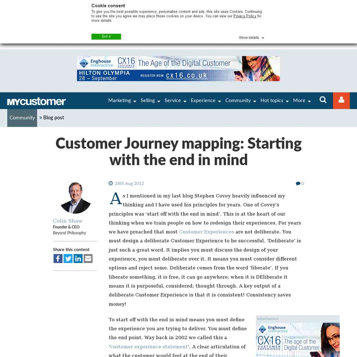Customer Journey mapping: Starting with the end in mind
