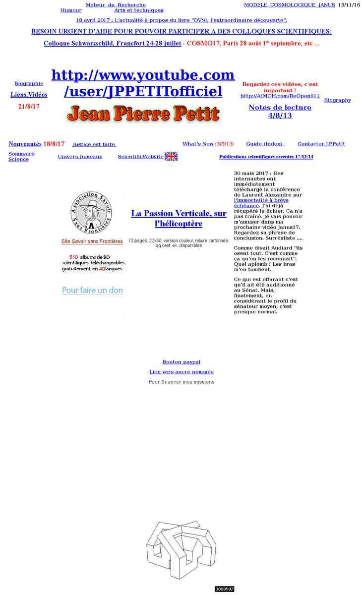 Site de Jean-Pierre Petit, astrophysicien