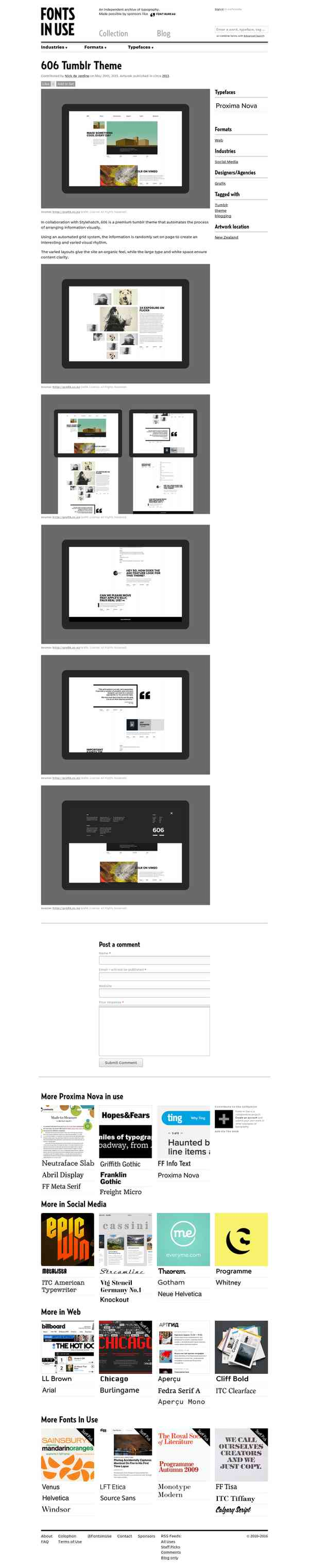 606 Tumblr Theme - Fonts In Use