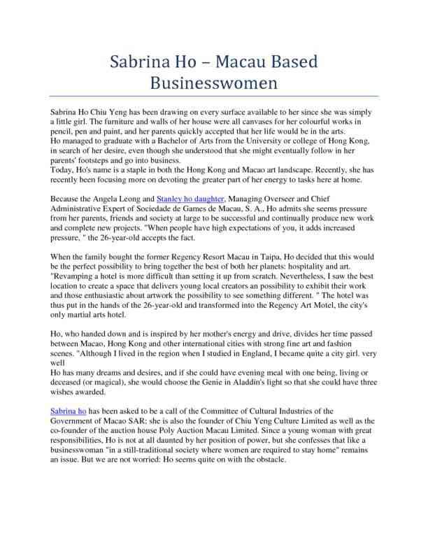 Sabrina Ho – Macau Based Businesswomen