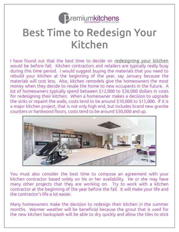Best Time to Redesign Your Kitchen