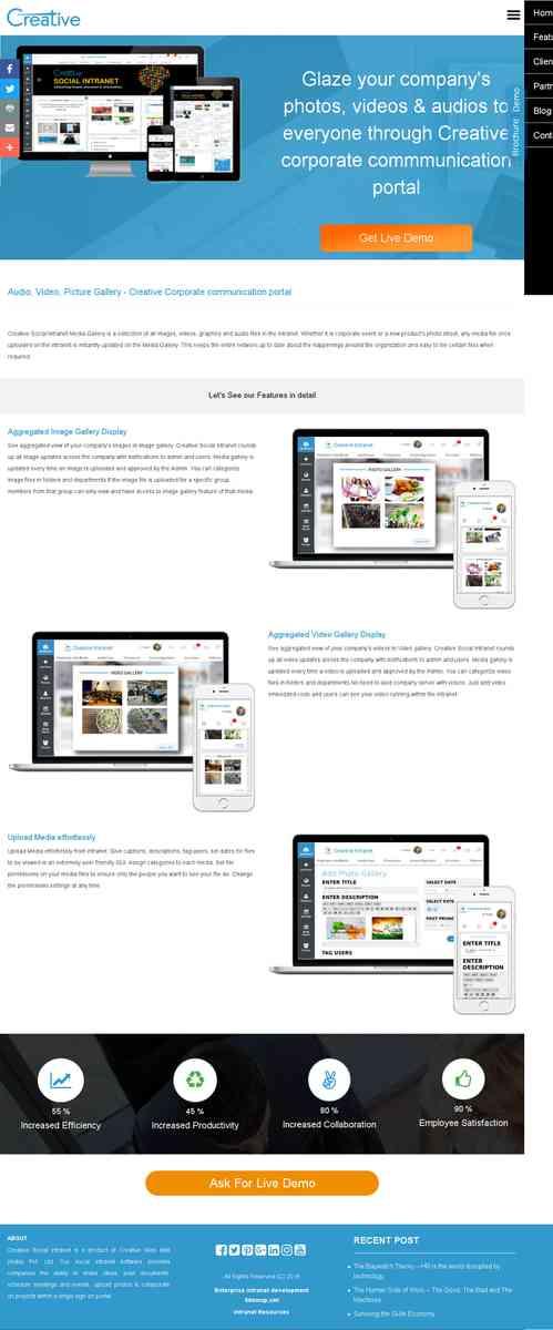 Corporate Communication Portal, Intranet file sharing, Online Media Galllery