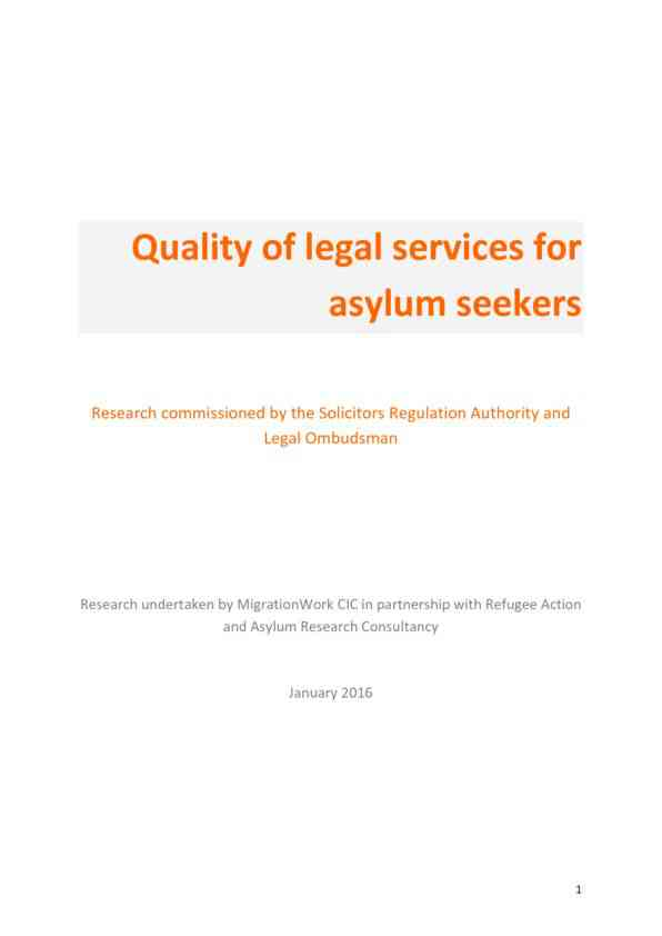Quality of legal services for asylum seekers