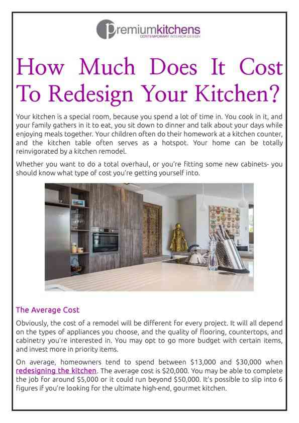 How Much Does It Cost To Redesign Your Kitchen?