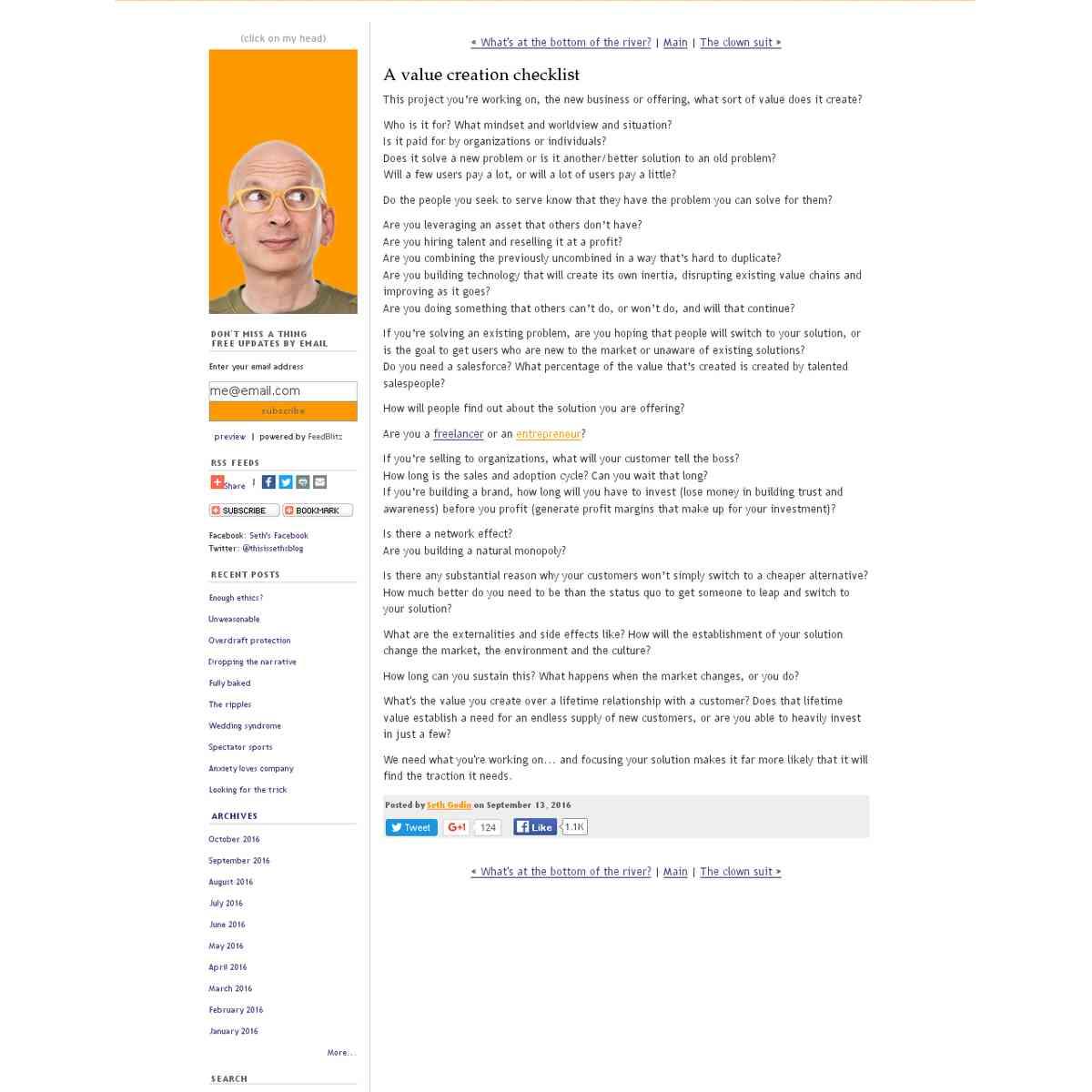 Seth's Blog: A value creation checklist