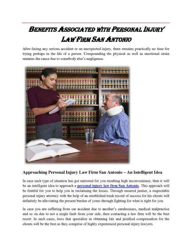 Benefits with Personal Injury Law Firm San Antonio