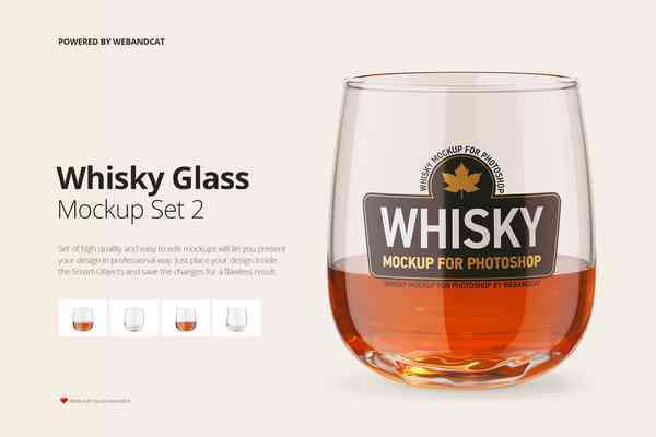 $ Whisky Glass Mockup