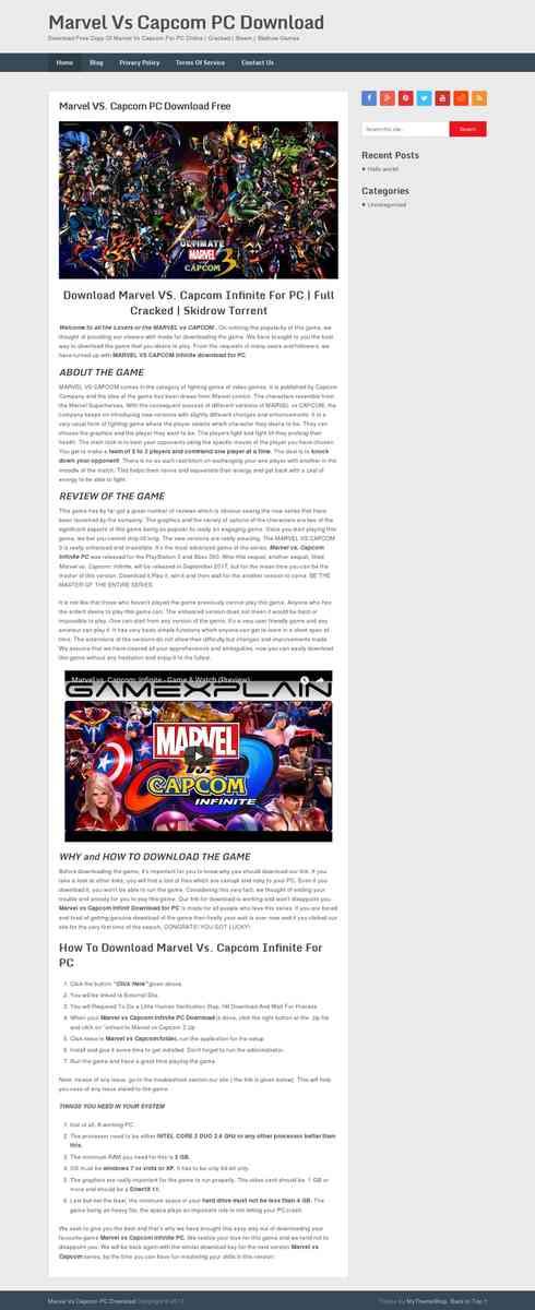 Download Marvel VS. Capcom Infinite For PC | Full Cracked | Skidrow Torrent