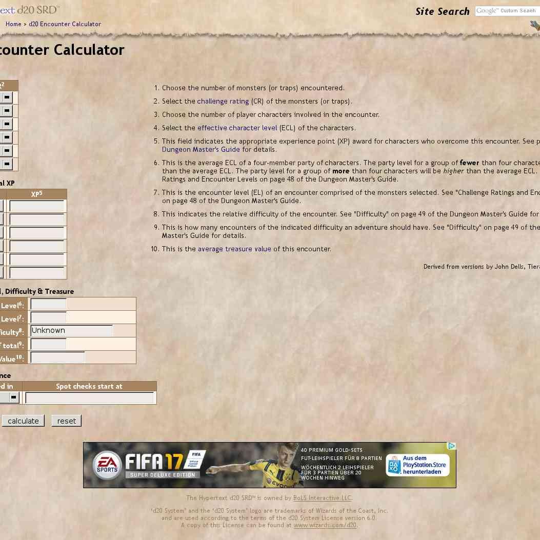 aid - d20 Encounter Calculator