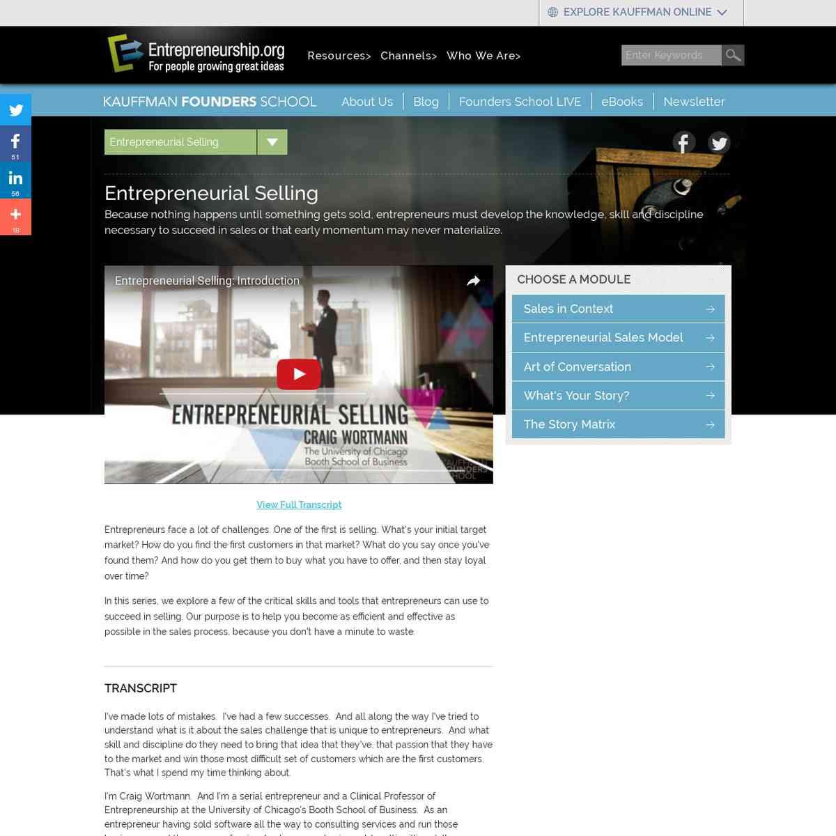 Entrepreneurial Selling || Kauffman Founders School - Entrepreneurship.org